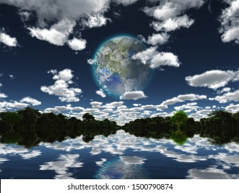 Surreal digital art. Terraformed moon seen from the Earth. 3D rendering