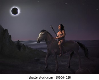 surreal digital painting of a native american man on horseback observing a solar eclipse