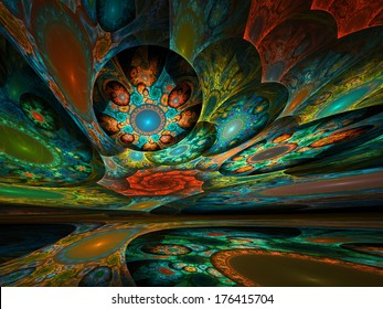 Surreal dream world of intricate fractal patterns colored with brilliant hues
