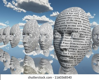Surreal face with text hovers in cloudy sky. 3D rendering