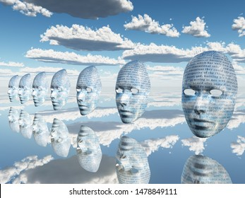 Surreal faces with text are floating in the sky. 3D rendering