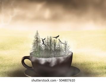 Surreal forest landscape photo manipulation/Surreal landscape