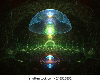 Surreal fractal sea creatures glowing in the dark (abstract illustration)