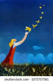 surreal girl creating stars throwing flying canaries