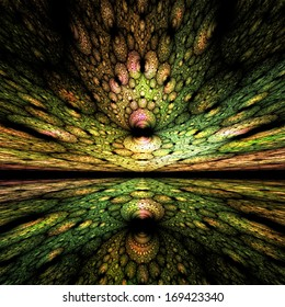 Surreal green fractal landscape with a stained-glass appearance