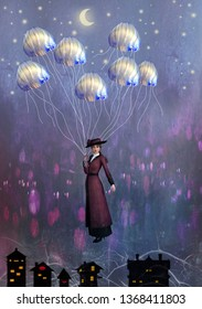 Surreal image of a woman in Victorian dress clutching onto a handful of jelly fish tentacles that are lifting her up above the roof tops and into the night sky.