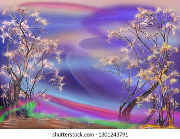 Surreal landscape with two trees. Abstract oil painting artwork.