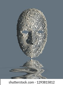 Surreal Mask and Water Reflection. 3D rendering