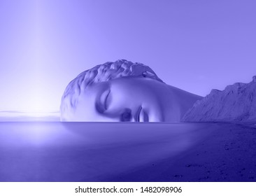 Surreal modern conceptual art poster with ancient statue face and sky. Collage of contemporary art.