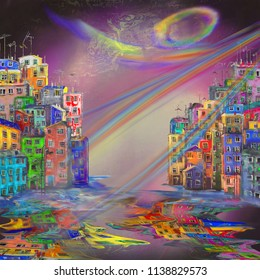 Surreal night in coastal town, abstract oil painting