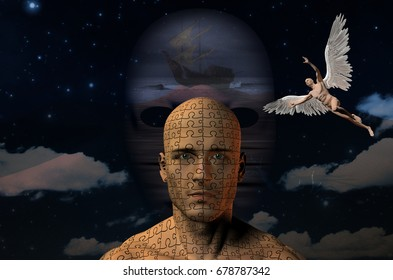 Surreal painting. Ancient ship on a seashore. Naked man with wings represents angel. Man's head with puzzle pattern.