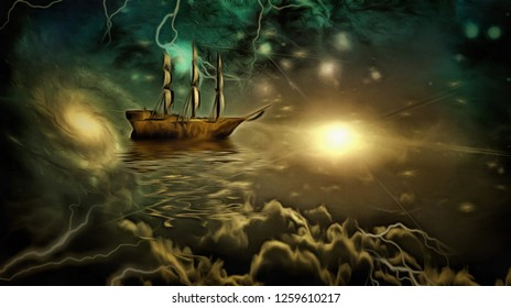 Surreal painting. Ancient ship in the sky. 3D rendering