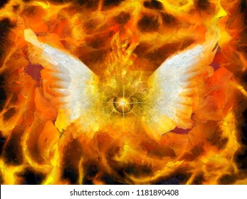 Surreal painting. Burning eye with wings. Flaming background. 3D rendering