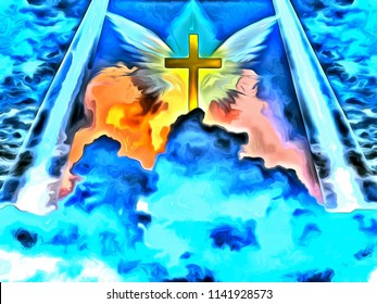 Surreal painting. Christian cross and angels in the sky. 3D rendering