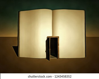 Surreal painting. Clean book with opened door. 3D rendering