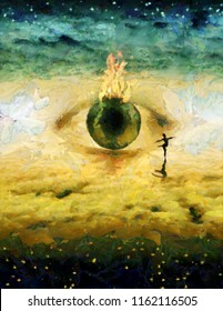 Surreal painting. Dancer on clouds. God's eye. 3D rendering