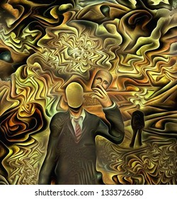 Surreal painting. Faceless man in suit  holds mask in hand. 3D rendering