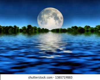 Surreal painting. Full moon over water. 3D rendering