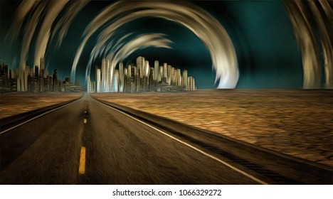 Surreal painting. Gleaming city in desert with surreal clouds. 3D rendering