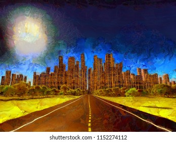 Surreal painting. Highway leads to desolate city. 3D rendering