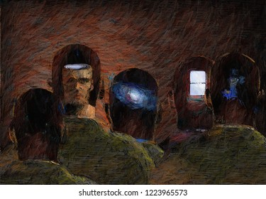 Surreal painting. Human Minds. 3D rendering
