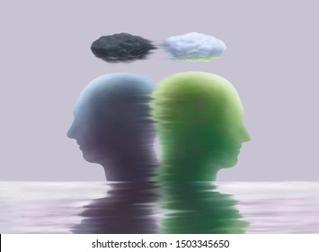 Surreal painting illustration different human heads with clouds and water reflection, bipolar, sadness, depression, contrast emotion concept ,fantasy art