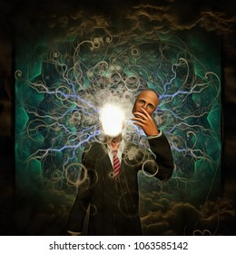 Surreal painting. Man holds mask in hand. Bright light and lightnings instead of his face. 3D rendering