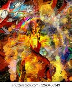 Surreal painting. Man with open door instead of face, burning head. Winged clocks symbolizes flow of time. Burning consciousness. 3D rendering
