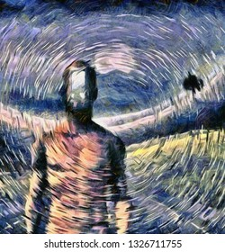 Surreal painting. Man with open door to another world instead of his face. 3D rendering