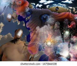 Surreal painting. Man with open door instead of face. Melting dimensions and Eye of God. 3D rendering