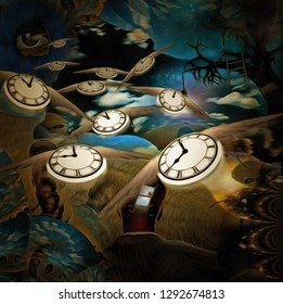 Surreal painting. Man with opened window in his head. Old tree with light bulb on a branch. God's Eye in the sky. Winged clocks represents flow of time. 3D rendering