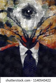 Surreal painting. Man's figure in a suit with tree branches and all-seeing eye instead of head. 3D rendering
