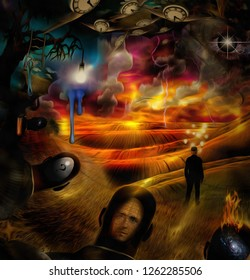 Surreal painting. Men's heads with different thoughts. Businessman with light bulbs around head stands in the field. Light-bulb on a tree branch. Winged clock represents flow of time. 3D rendering