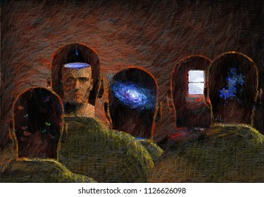 Surreal painting. Minds. 3D rendering