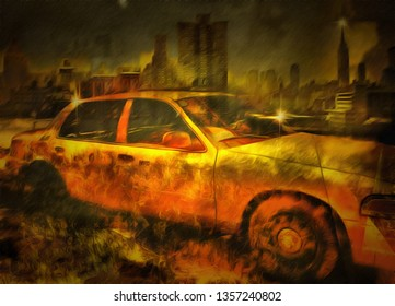 Surreal painting. New York taxi. 3D rendering