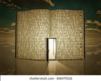 Surreal painting. Opened door in open book with story.   3D Render