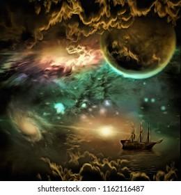 Surreal painting. Sailing ship in vivid universe. 3D rendering