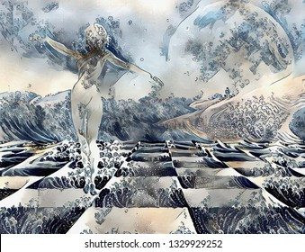 Surreal painting. Woman's statue made of white stone on a chess board. 3D rendering