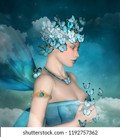 Surreal portrait of a woman with blue butterflies - 3D mixed media illustration