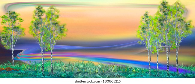Surreal rainbow road between trees. Abstract oil painting artwork.