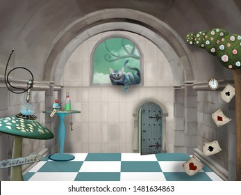Surreal room in wonderland with a Cheshire cat and a table - 3D mixed media illustration