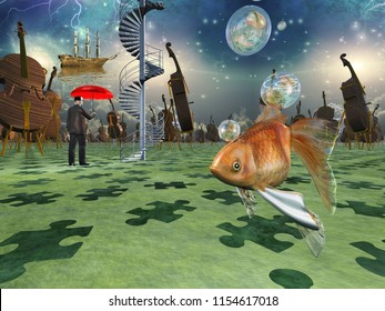 Surreal scene with various elements, gold fish, cello man with red umbrella. 3D rendering