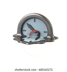 Surreal style melting silver clock time concept 3d rendering on white background