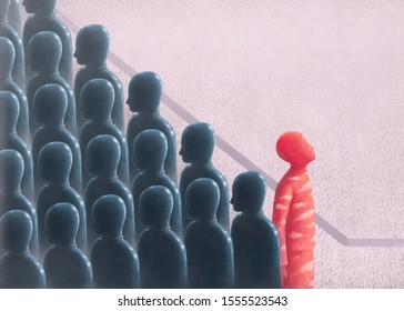 Surreal unique and hope and different  concept, red man standing out in group of gray people, alone lonely, painting illustration