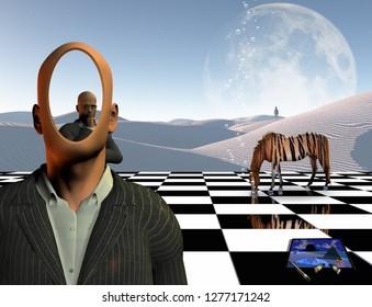 Surreal unusual art solutions. Faceless man and another thinking businessman behind him on chessboard. Lonely man in a distance. White sand dune. Striped horse. Painting and brushes. 3D rendering