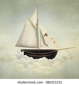 Surreal vessel above the clouds with full sail and a sail with a female face