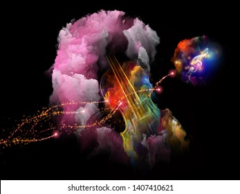 Surreal violin, nebula and treble clef composition on subject of music and performance arts.