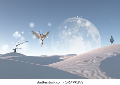 Surreal white desert with dry tree, big moon at the horizon. Man in white suit and bowler stands on a sand dune. Man with wings represents angel. 3D rendering