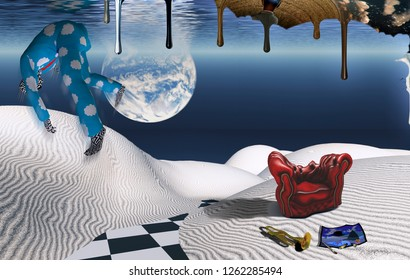 Surreal white desert. Red armchair, trumpet and painting. Man in pajama falls down in his dream. Another dimension flows down. 3D rendering