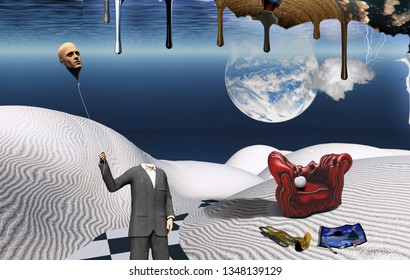 Surreal white desert. Red armchair with white apple, trumpet and painting. Man in suit holds his head like a balloon. Another dimension flows down. 3D rendering